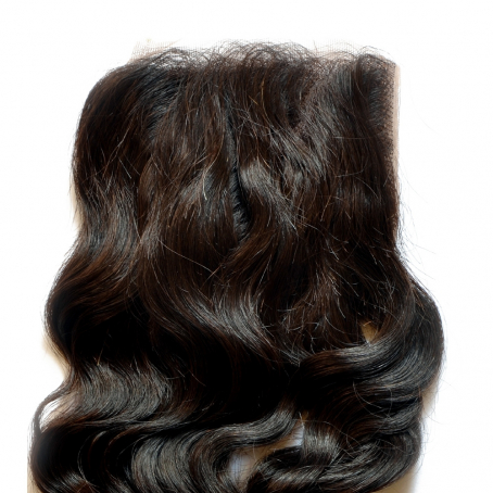 Top closure de cheveux vierges 100% naturels implantés sur tulleclassique