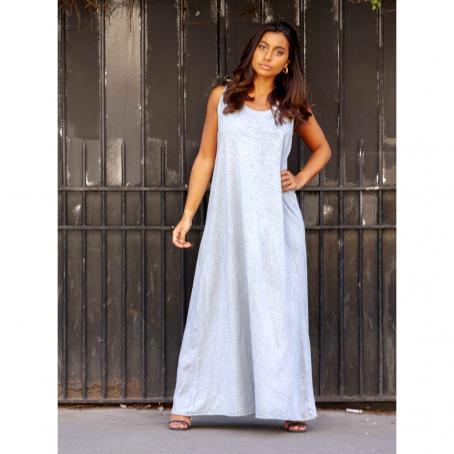 Robe Longue Dos Nu En Coton Ritha Bleu Delave