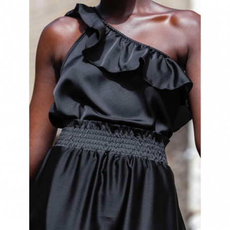 Top asymétrique Tanya – Noir